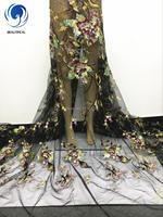 Oferta especial JLN3401 africano 2017 de alta calidad tela de encaje de tul boda Al Por Mayor lentejuelas tela de encaje neto Francés para Nigeria