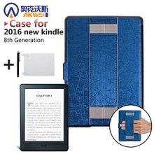 3d07af323ad5d Ultra slim fina capa de couro PU caso capa protetora com suporte mão Amazon  2016 All