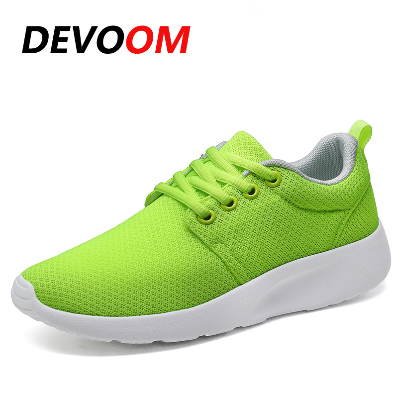 DEVOOM Woman Skate White Shoes Womens 2017 Summer Top Quality Shoes Breathable Air Mesh Casual Ladies Flats Lace Up Soft Shoes