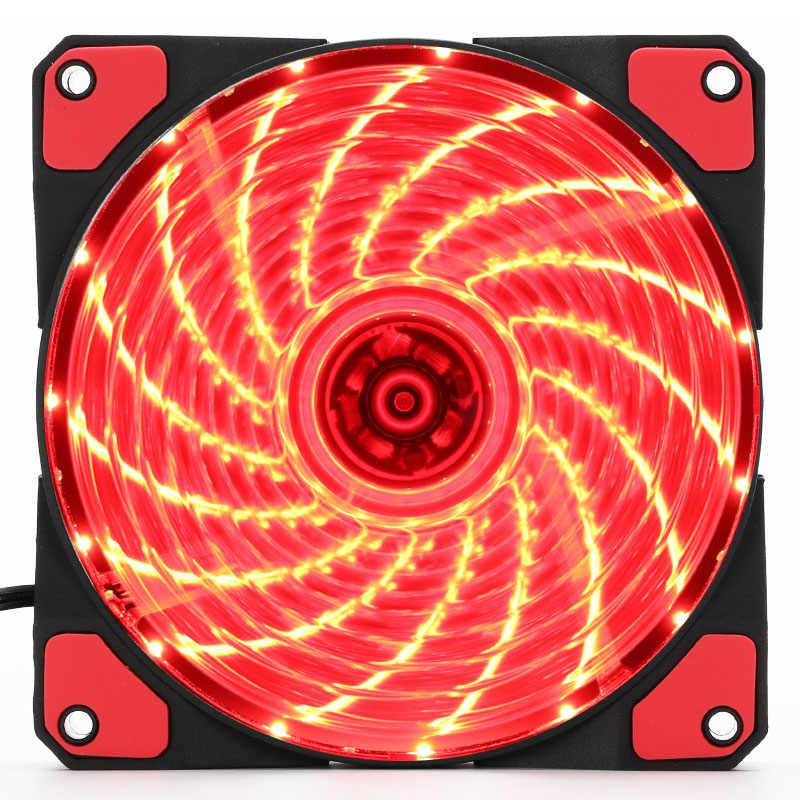 En-Labs 120mm Fall Fan 16dB Stille 15 LEDs Kühlkörper Kühler w/Anti-Vibrations-Gummi, 12 cm Fan, 12VDC 3 p IDE 4pin