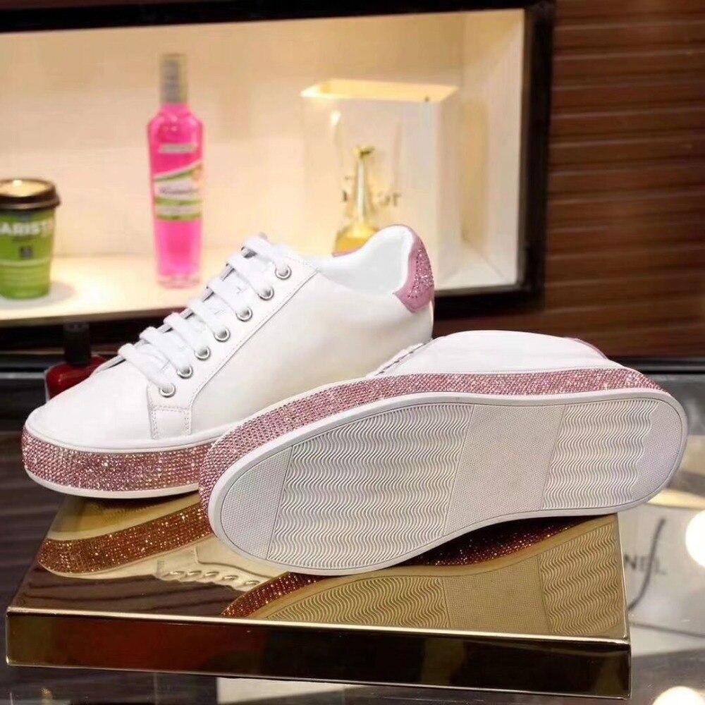 Red white Cuir Style Femme Bout 2019 Rond back Cristal En Simples Blanc Chaussures Noir Rome Vache Semelle Luchfive De Pink Peau Décontractées Rose Black back Printemps Mouton qF4EaY