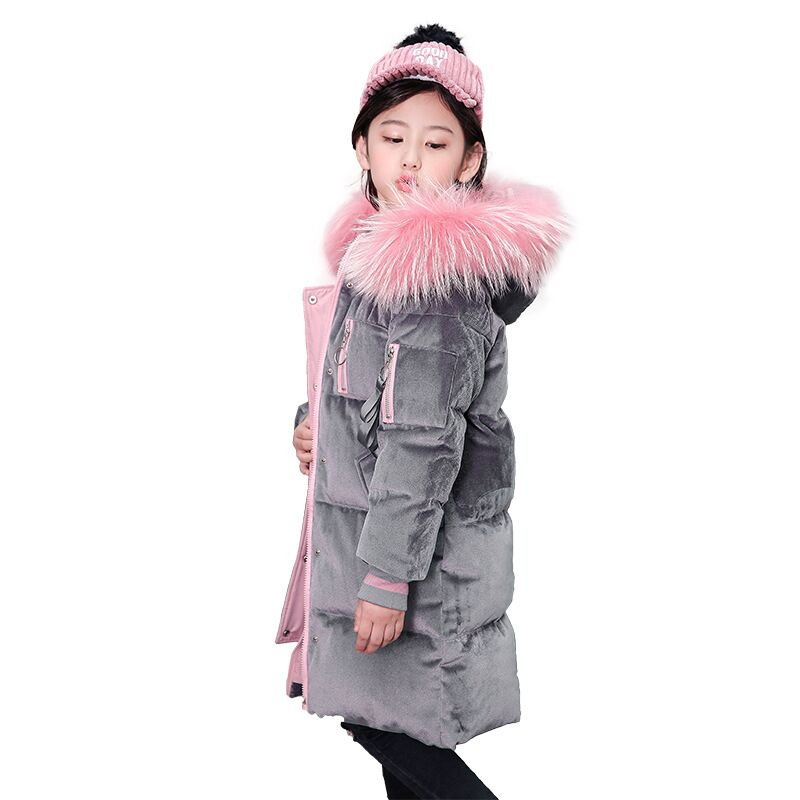 Cold Winter Girls Warm Clothes 8-16year Infant Coat 2018 Kids Thicken Jacket Hooded Xmas Snowsuit Pink collars long Outerwear