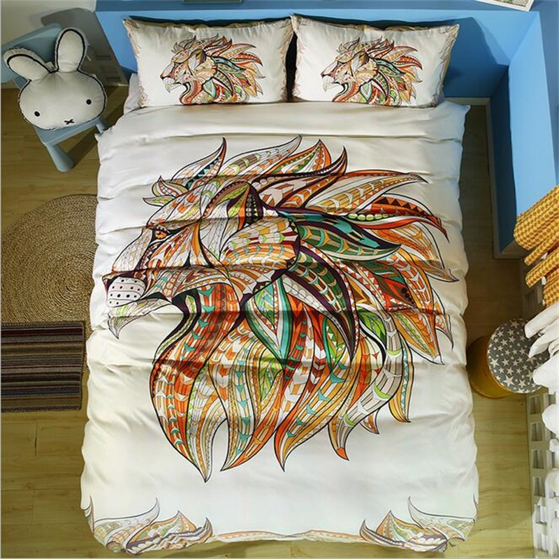 Colorful Animal Lion Wolf Deer Horse Elephant Owl Bear Eagle Exotic Bedding Twin Full Queen King Size Duvet Covers Set