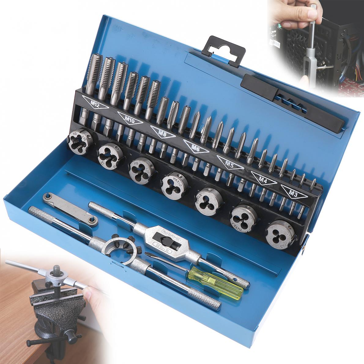 все цены на 32pcs/Set HSS Metric Tap & Die Set M3-M12 1st 2nd & Plug Finishing for Professional Metalworking