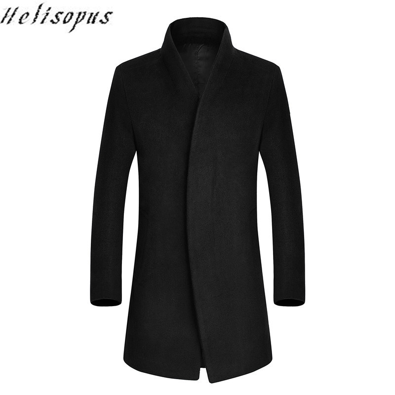 Helisopus Autumn Winter Mens Long Thicken Wool Coat Business Slim Fit Homme Casual Trench Overcoat High Quality masculino
