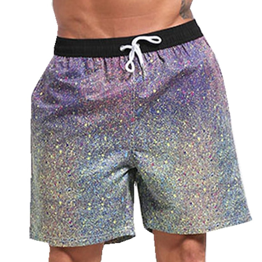 CHAMSGEND   Shorts   Men Colorful Beach   Shorts   Elastic Waist Trunks   Board   Pants Summer Drawstring Trunks Quick Dry   Shorts   22.JAN.13