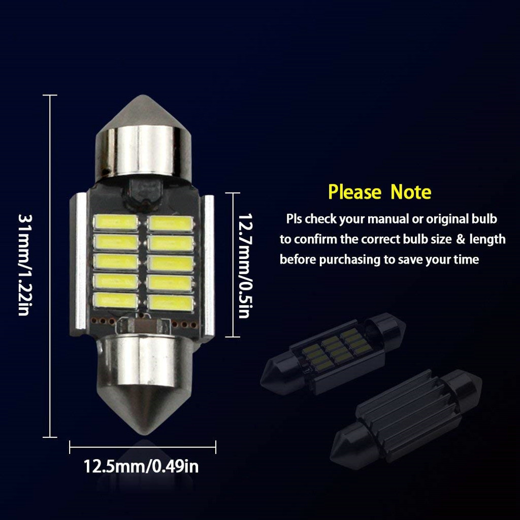 Image 5 - 2Pcs 3030 SMD Map Dome Lights 31mm LED Light 6500K White SMD Car Dome Double Tip Reading Lamp Roof Bulb LED Lamps For Cars-in Signal Lamp from Automobiles & Motorcycles