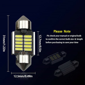 Image 5 - 2Pcs 3030 SMD Map Dome Lights 31mm LED Light 6500K White SMD Car Dome Double Tip Reading Lamp Roof Bulb LED Lamps For Cars