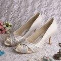 Womens Wedding Shoes Heels 8CM Beige Open Toe Pumps Med Heel 8CM Size 34~42