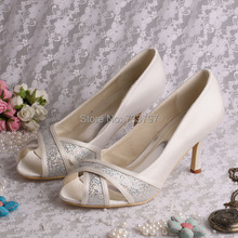 Женская Свадебная Обувь На Каблуках 8 СМ Бежевый Открытым Носком Насосы Med Каблук 8 СМ Размер 34 ~ 42