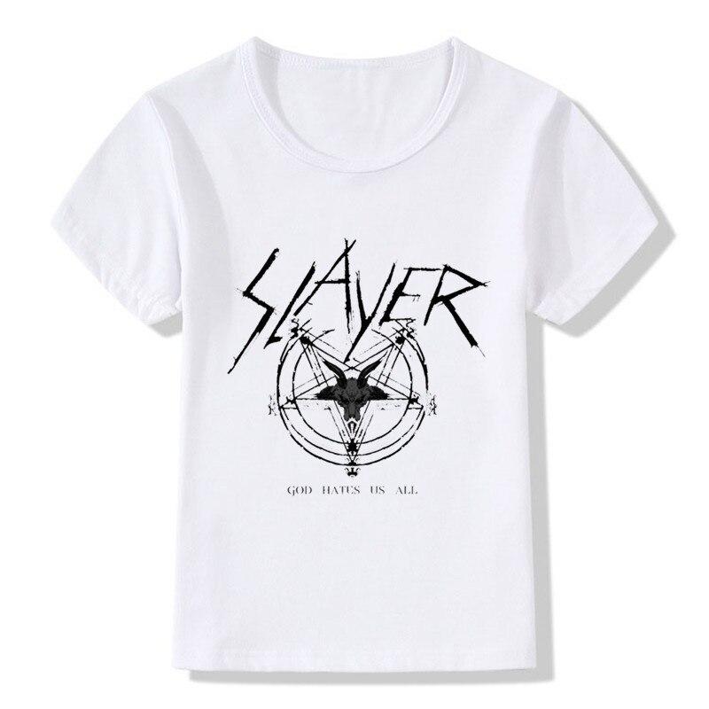 Barn Speed Metal Slayer Print T-shirt Barn Sommar-toppar Flickor Pojkar Cool T-shirt Casual babykläder, HKP516