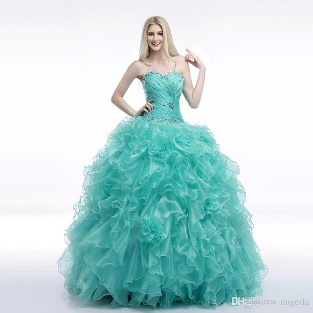 18609ed7723 2015 Cheap Sweetheart Crystal Beaded Masquerade Ball Gowns Ruffle Turquoise  Quinceanera Dresses