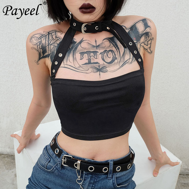 Woman Crop Top 2019 Tank Tops Cotton Punk Choker Halter Top Women Cami Backless Buckle Hanging Neck Choker Sexy Short Vest Women in Camis from Women 39 s Clothing