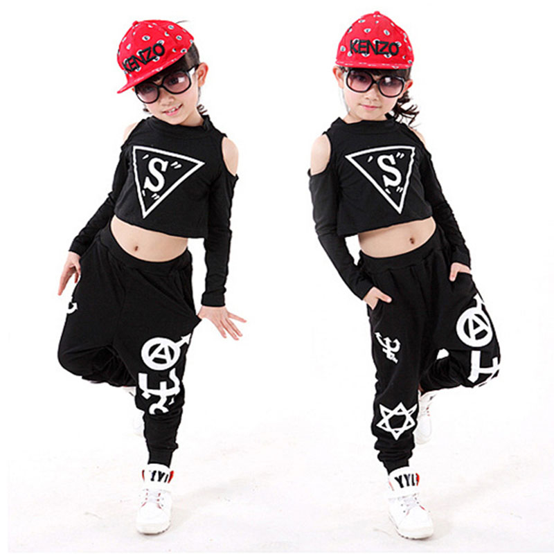 New Children Sets Girl Boy Black Jazz Hip Hop Modern Dancewear Set Kid Dance Costume Short Sleeve Top & Pants Fit 4-12Y 6 new kids dancewear set boys girls sequined stage performance costume modern jazz hip hop dance wear top