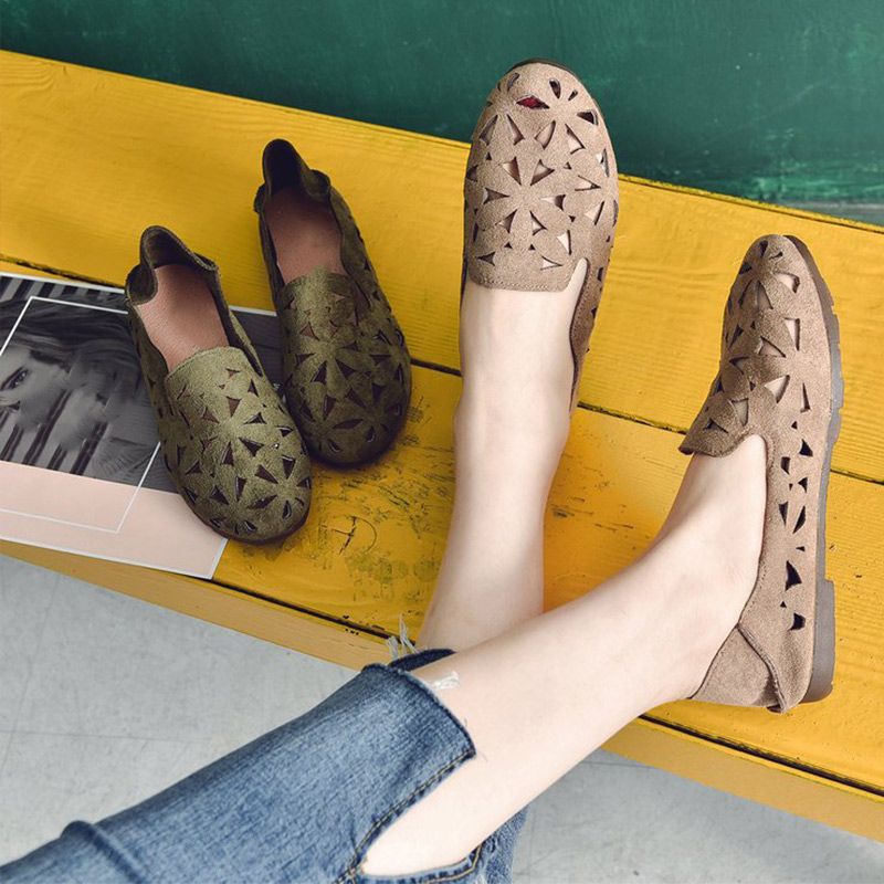 MCCKLE Women Hollow Flats Sandals Soft Ballet Shoes Female Fashion Casual Suede Flats Slip On Breathable Comfort Ladies Shoes