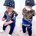 Free Shipping New Velvet Leopard Print Boy Girl Sport Suit Baby Clothes Sets Fashion Children Clothing Set  Kids Hooded Pant