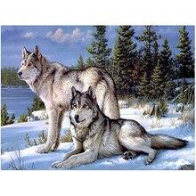 Handwerk Diamant-stickerei Wolf Diy Voller Diamanten Malerei Kit 30×40 cm für Square Drill Rhinestone Klebte Unfinish Zimmer ZX
