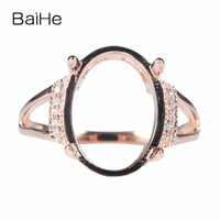 BAIHE Solid 10k Rose Gold(AU417) 100% Natural Diamonds Engagement Ring 14x10.5mm Oval Cabochon Wedding Fine Jewelry Trendy Ring