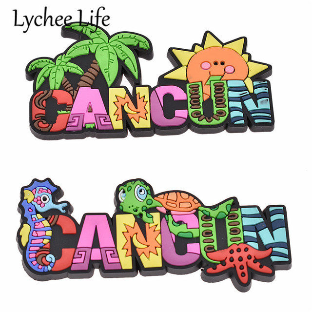 Lychee Life Cancun PVC Fridge Sticker Colorful Cartoon Animal Letter Fridge Magnet Souvenir Gift Modern Home Kitchen Decoration