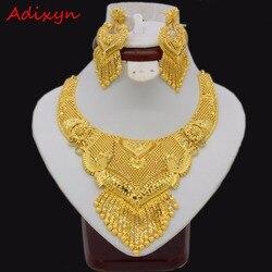 Adixyn Luxus Halskette/Ohrringe Schmuck-Set Für Frauen Mädchen Gold Farbe Elegante Arabischen/Äthiopischen Braut Hochzeit/Party geschenke