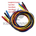 TL320 Length 2.0M R/B 1.0meter High Quality 13AWG flexible silicone test leads 4mm straight Plug on both ends