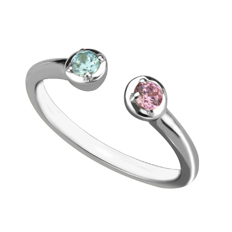 wholesale dual birthstone ring in sterling silver personalized two birthstones wedding ring couple birthstone bridesmaid gift