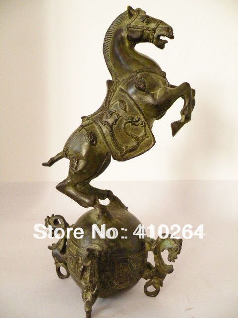 0116P [old craft ] Fast Shipping Superb Chinese Old Bronze Horse Standing On The Ball Censer Statue Sculpture (A0314)