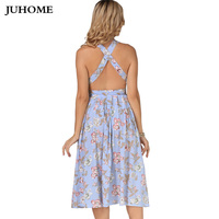 2017 Spaghetti Strap Summer Vintage Dress O Neck Flower Print Pin Up Club Sexy Party Dress
