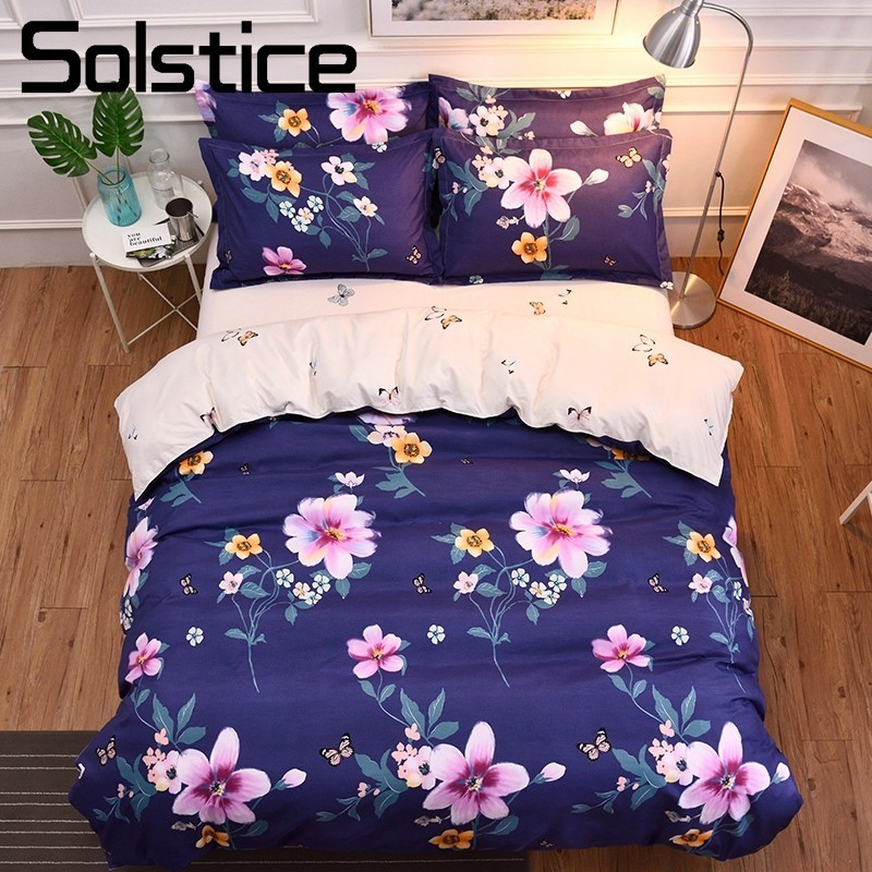 Solstice Home Textile Deep Blue Bedding Sets Butterfly Peony Flower Elegant Bedlinen Girl Teen Bed Sheet Pillowcase Duvet Cover