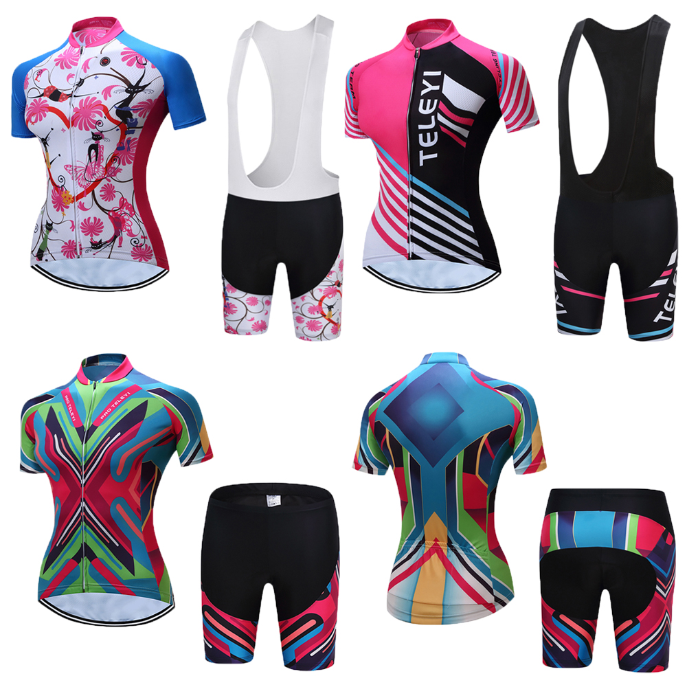 Women 2019 Summer Bib Short Sleeve Cycling Jersey Kits Road Bike Clothing MTB Bicycle Clothes Maillot Ciclismo Dress Sets Wear