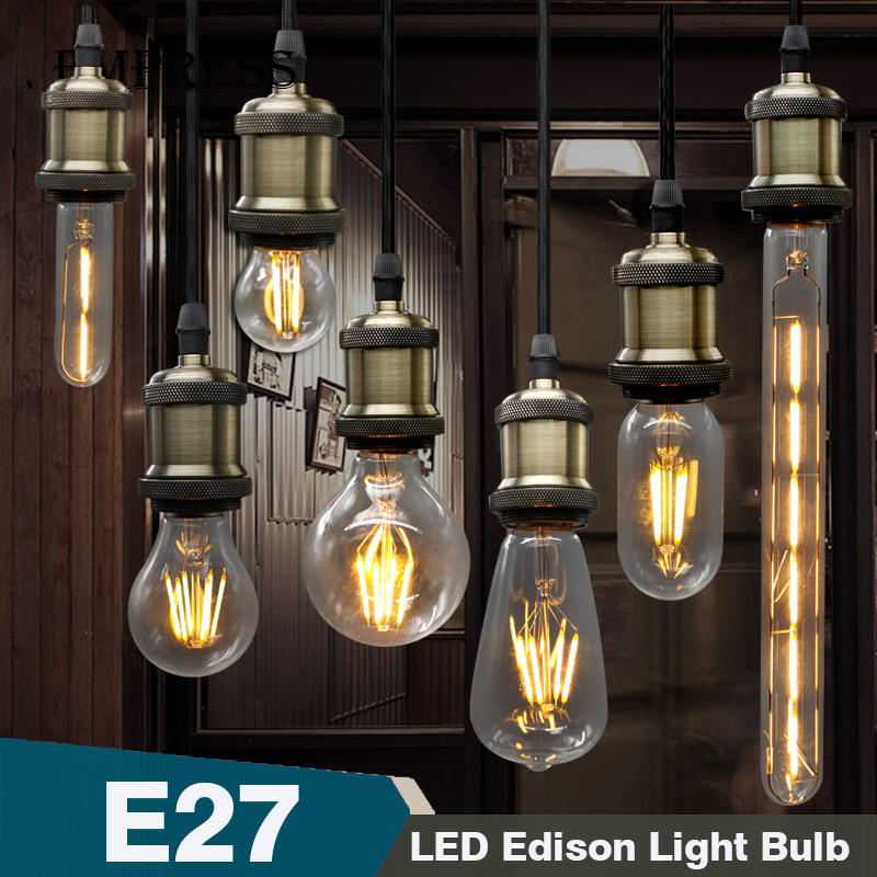 Retro Lamp LED Edison Bulb E27 Filament Lamp E14 Glass Bulb Ampoules Decoratives Lampada Vintage LED Gloeilamp Candle Light Bulb led light bulb filament vintage edison e14 2 w 4 w c35 ac220v glass transparent shell cob led candle lamp 360 degree light bulb