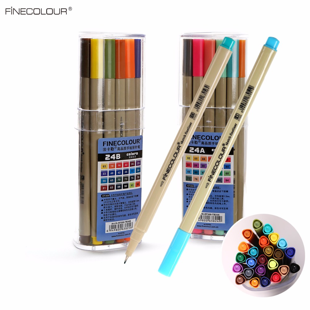 Finecolour Markers 24 Colors 0.4mm Fineliner Pens Super Fine Drawing Color Pen Water Based Ink Art Markers for School Supplies promotion touchfive 80 color art marker set fatty alcoholic dual headed artist sketch markers pen student standard