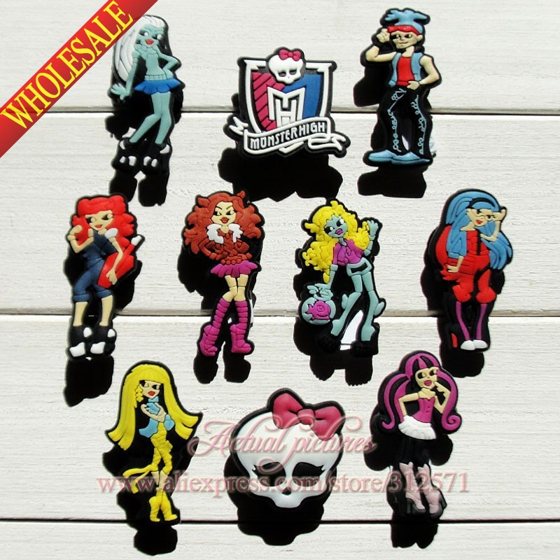 High Quality  40pcs Monster High School #1 shoe decoration/shoe charm shoe decorate fit for bracelets Wristbands Kids Toy Gift