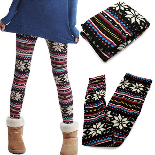Ladies Retro Knitted Warm Leggings Snowflakes Multi Colors Winter