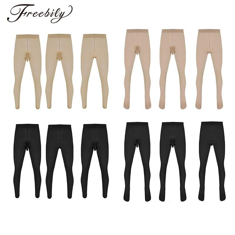 Mens Sexy Skinny Stretchy Pantyhose Tights Hosiery Seamless Lingerie Sissy G-string Thong Panties Underwear Underpants