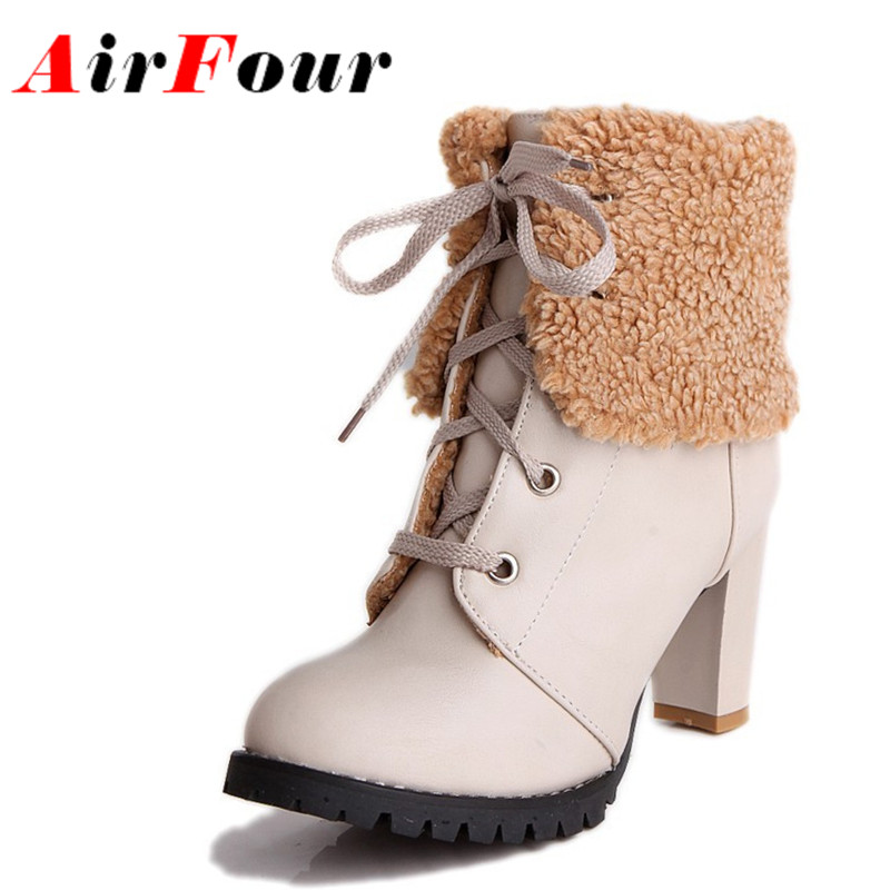 ФОТО Airfour Fashion Winter Boots Shoes Lace-Up Ankle Boots Women High Heel Shoes Fur Woman Square Heels Black Red Beige Pumps Shoes
