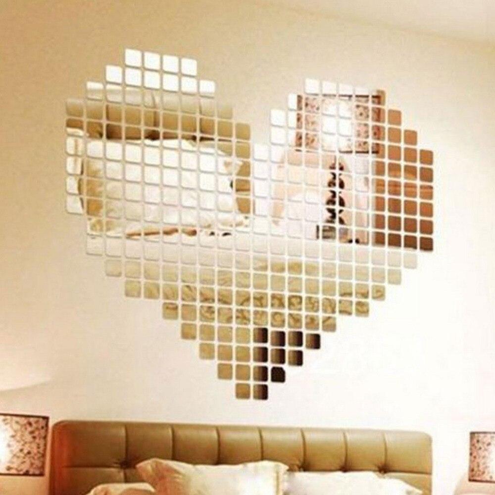 100 Stuks Spiegel Tegel Populaire Diy Muursticker 3d Decal Mozaïek Huis Thuis Kamer Decoratie Stick Voor Moderne Kamers Drop Verzending
