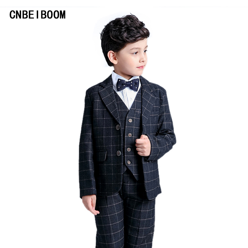 Children suit Formal Gentleman New 2017 Spring/Autumn Baby Boy Plaid Suits Plaid Blazers 5Pcs Tuxedo Sets Kids 2-12 Y Clothing 2016 new arrival fashion baby boys kids blazers boy suit for weddings prom formal wine red white dress wedding boy suits