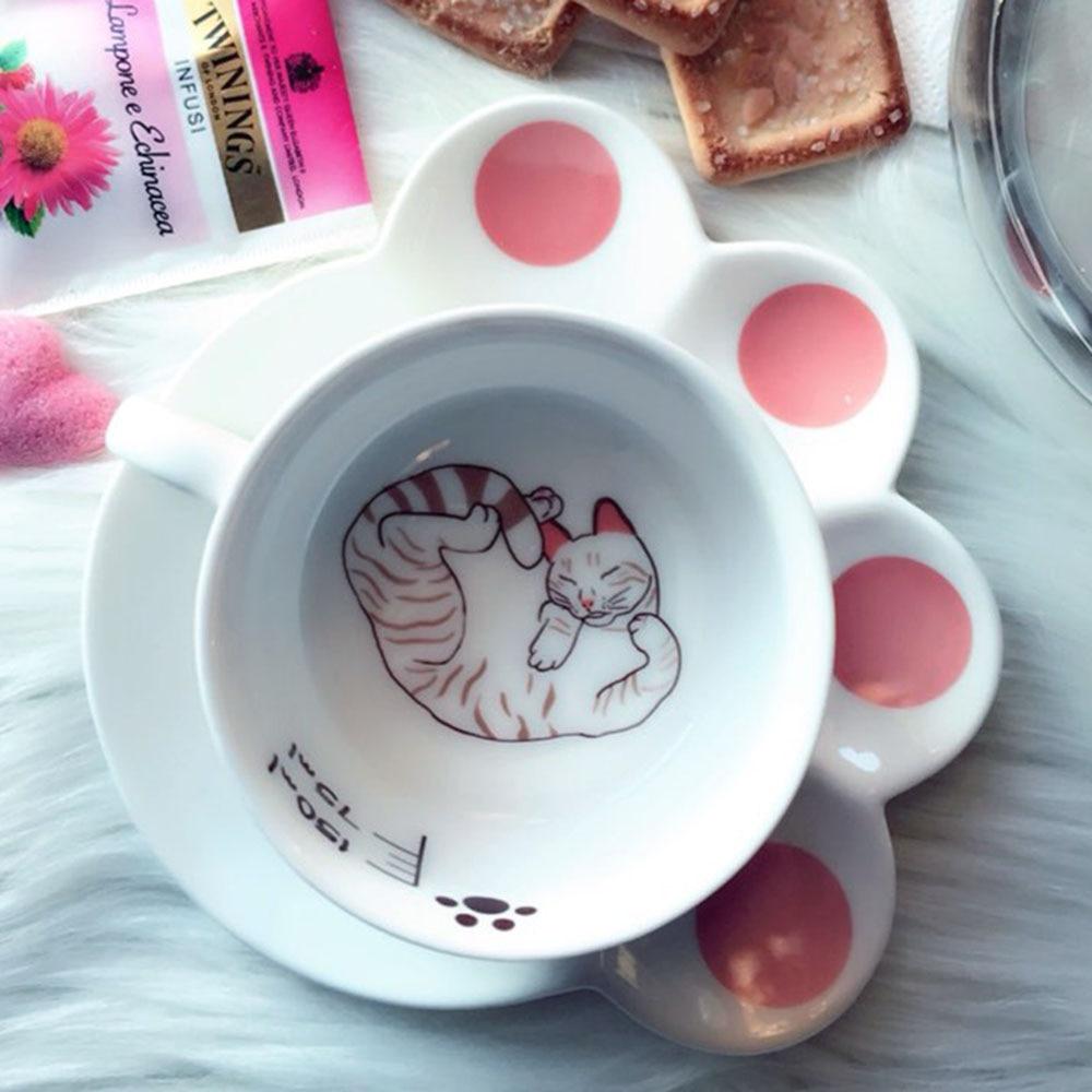 150ml Leuke kat cartoon Mok Set creatieve katachtige melk ontbijtkop keramische kopjes en borden koffiekopje Hittebestendig kopje cadeau