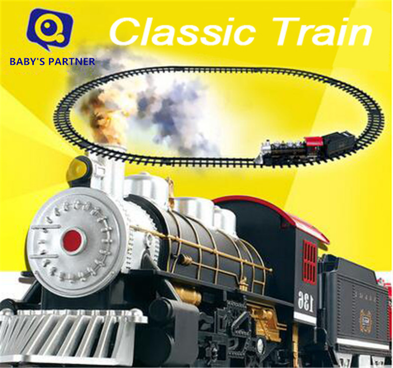hot wheels Classic toy DIY Battery Opearted Electric Rail Train Railway car with Smoke&sound slot car set Kids Toys for children