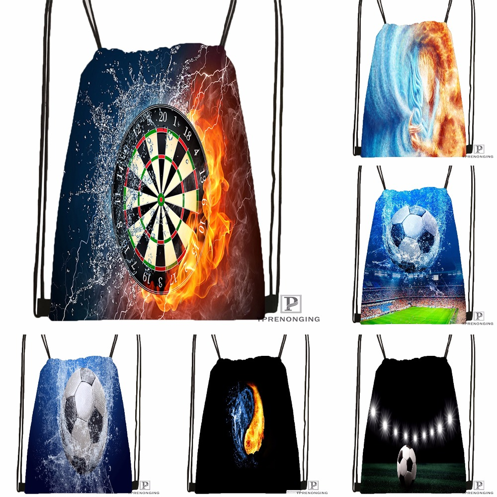 Custom Soccer Football Ball Fire Flame Drawstring Backpack Bag Cute Daypack Kids Satchel Black Back 31x40cm