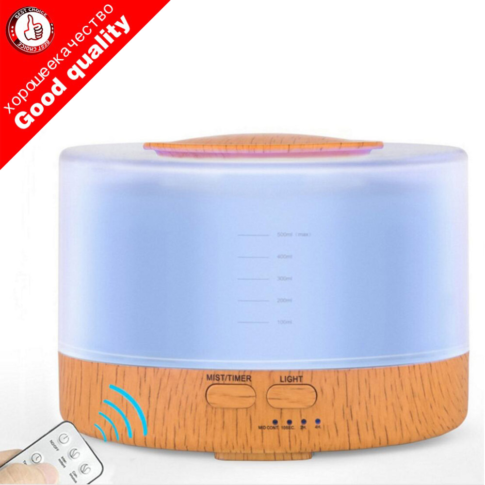 500ml Remote Control Ultrasonic Air Aroma Humidifier With 7 Color LED Lights Electric Aromatherapy Essential Oil Aroma Diffuser все цены