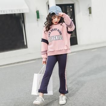 90e81b3f460ff 2019 стильная одежда для девочек-подростков, весенний милый комплект одежды  для детей 5-12 лет, хлопковое пальто + штаны, 2 предмета, модные компл.