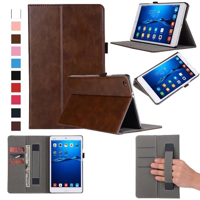 Luxury PU Leather Case Cover for Huawei MediaPad M3 Lite 8 CPN-W09 CPN-AL00 8.0 inch Hand Holder Grip Shell with Card Slots