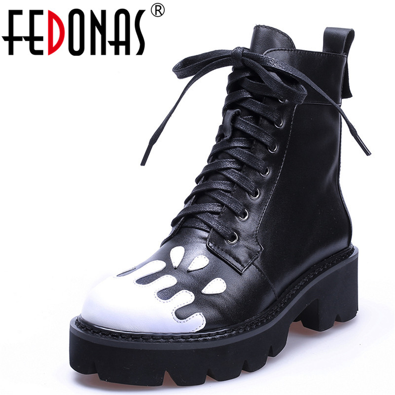 FEDONAS 1New Women Ankle Boots Autumn Winter Warm Genuine Leather High Heels Shoes Woman Round Toe Cross-tied Motorcycle Boots 2018 new arrival genuine leather zipper runway autumn winter boots round toe high heels keep warm elegant women ankle boots l29