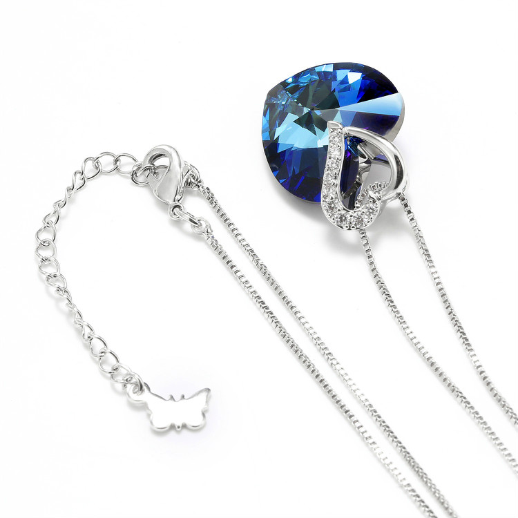 HTB1ADrbbEuF3KVjSZK9q6zVtXXa1 Warme Farben Crystal from Swarovski Women Necklace Fine Jewelry Blue Heart Crystal Pendant Necklace Valentine's day Gift