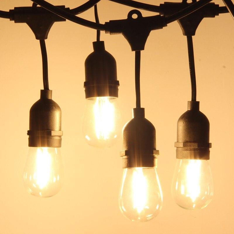 Waterproof 15M 15pcs/15M 24pcs LED Bulbs String Light Indoor Outdoor Commercial Grade E26 E27 Street Garden Holiday String Light