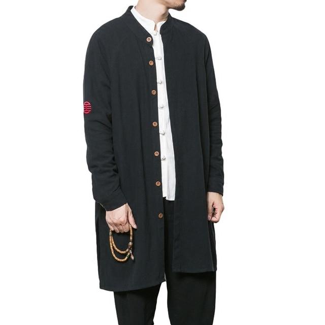 Style Style Chinois Coton Coton Noir Longue Veste Kung Fu Gris Hommes Lin De Ft5Zqwq
