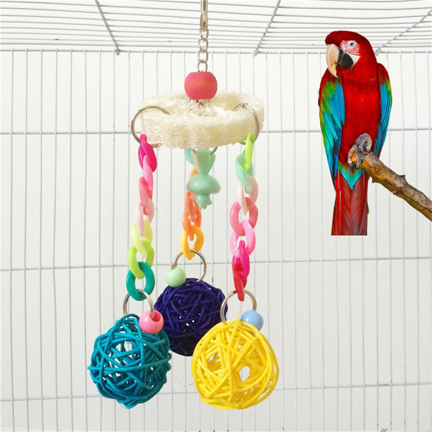 Home & Garden New Pet Swing Toy 1pc Parrot Bird Toy Small Colored Wood Rope Loofah Vine Swing With Ball Parrot Toys Dec14#30 Pet Products