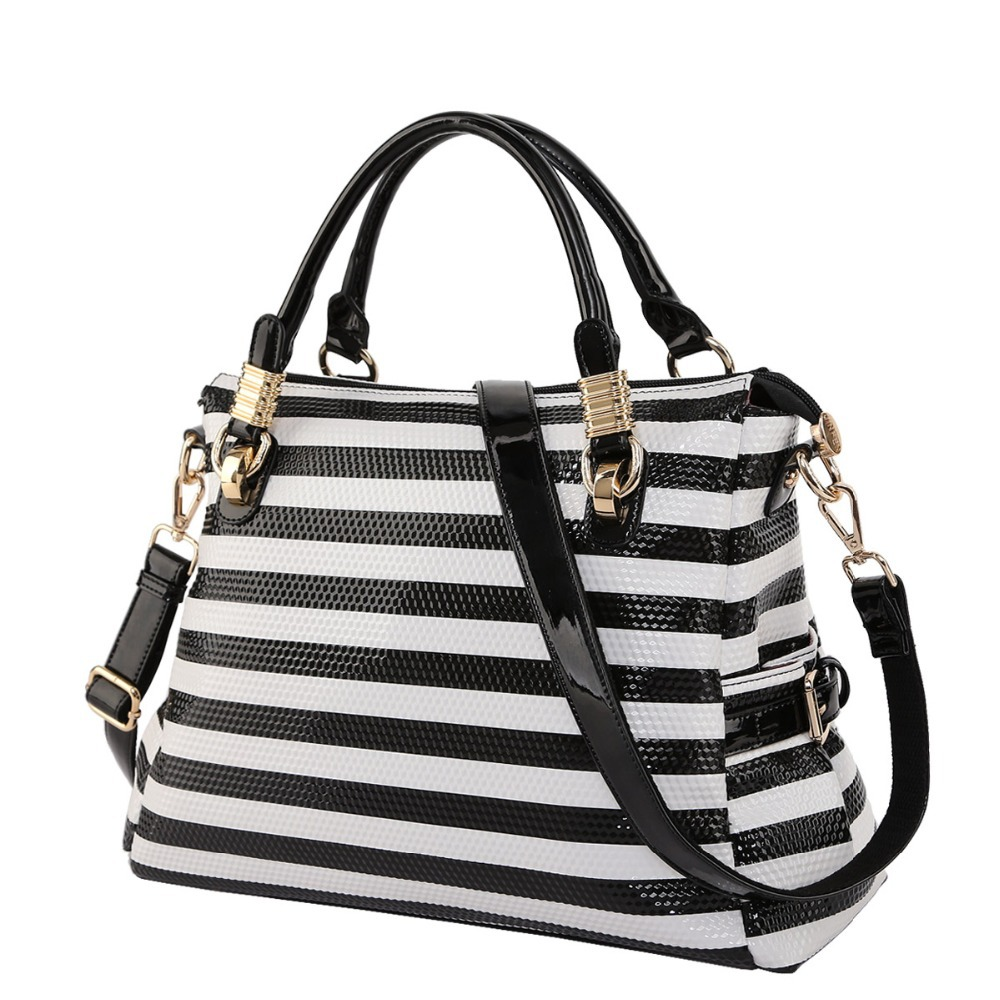 Black And White Striped Handbag   Luggage And Suitcases